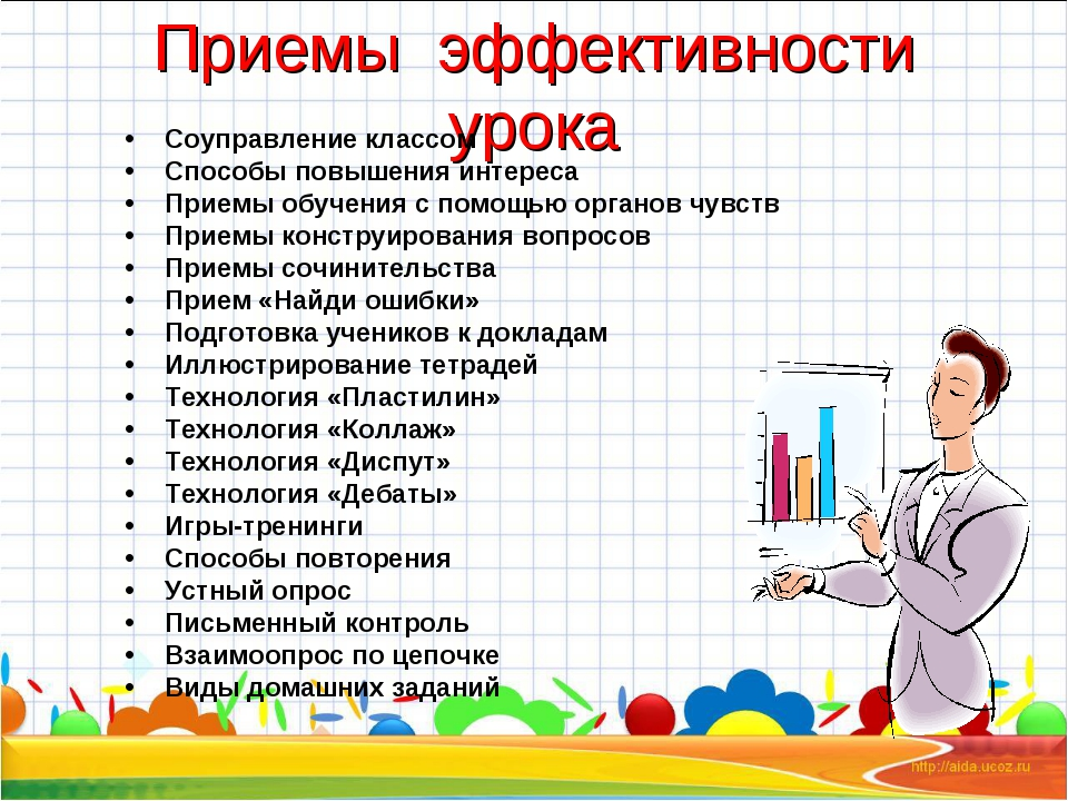 Приемы эффективности урока Соуправление классом Способы повышения интереса Пр...