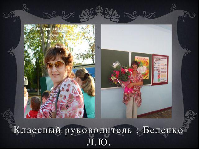 Классный руководитель : Беленко Л.Ю.