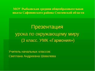 МОУ Рыбковская средняя общеобразовательная школа Сафоновского района Смоленск