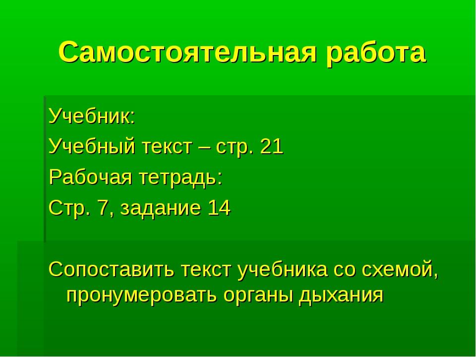 Самостоятельная работа Учебник: Учебный текст – стр. 21 Рабочая тетрадь: Стр....