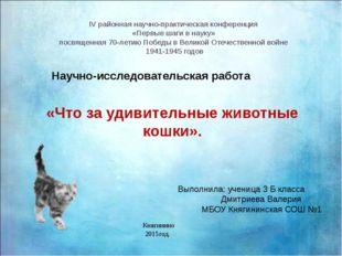 IV районная научно-практическая конференция «Первые шаги в науку» посвященна