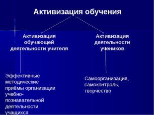 Активизация обучения Активизация обучающей деятельности учителя Активизация д