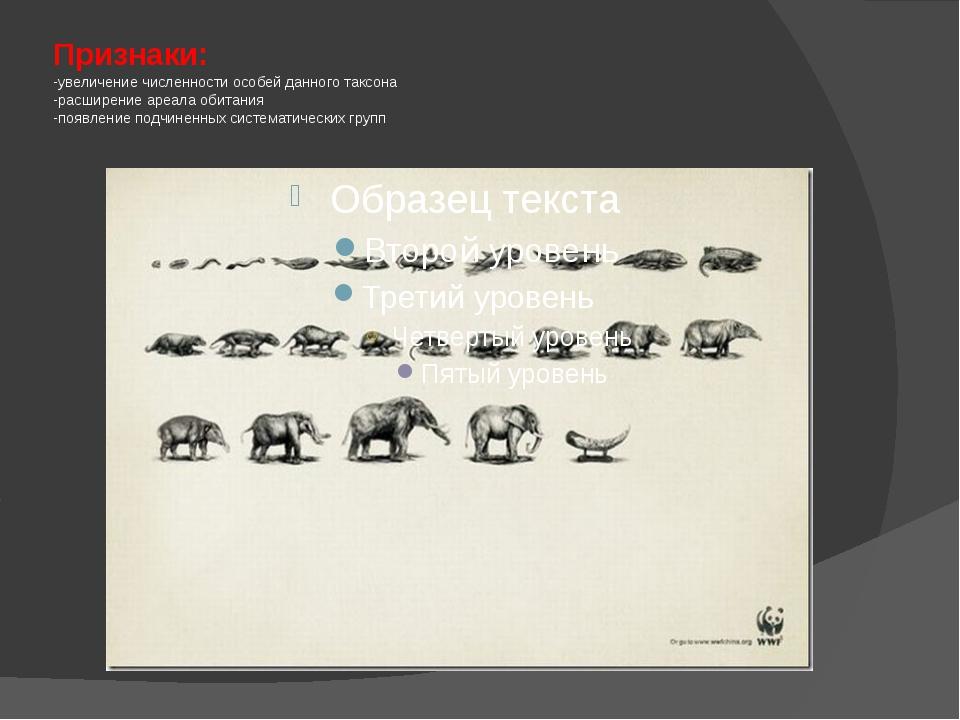 Признаки: -увеличение численности особей данного таксона -расширение ареала о...
