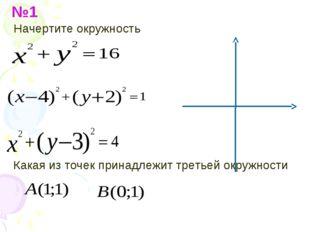 №1 Начертите окружность Какая из точек принадлежит третьей окружности