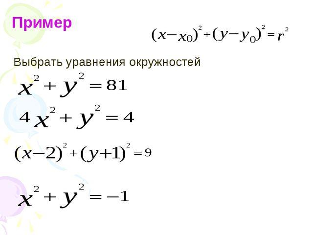 Пример Выбрать уравнения окружностей