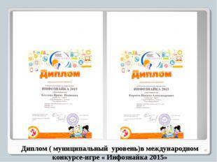 Диплом ( муниципальный уровень)в международном конкурсе-игре « Инфознайка 20