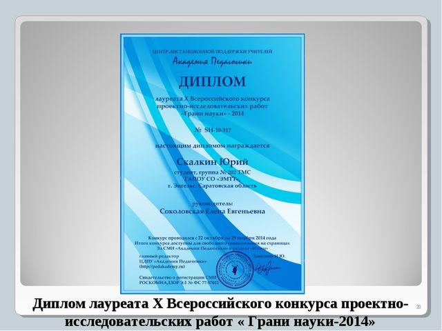 Диплом лауреата X Всероссийского конкурса проектно- исследовательских работ «...