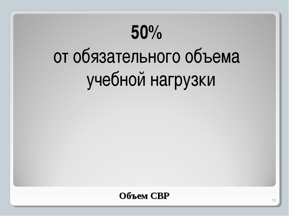Объем СВР 50% от обязательного объема учебной нагрузки *