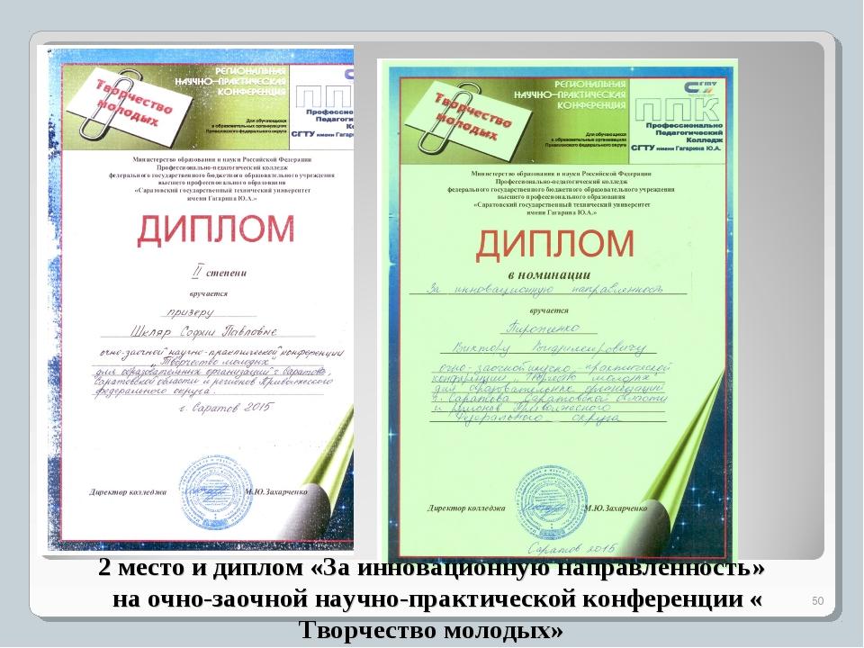 2 место и диплом «За инновационную направленность» на очно-заочной научно-пра...