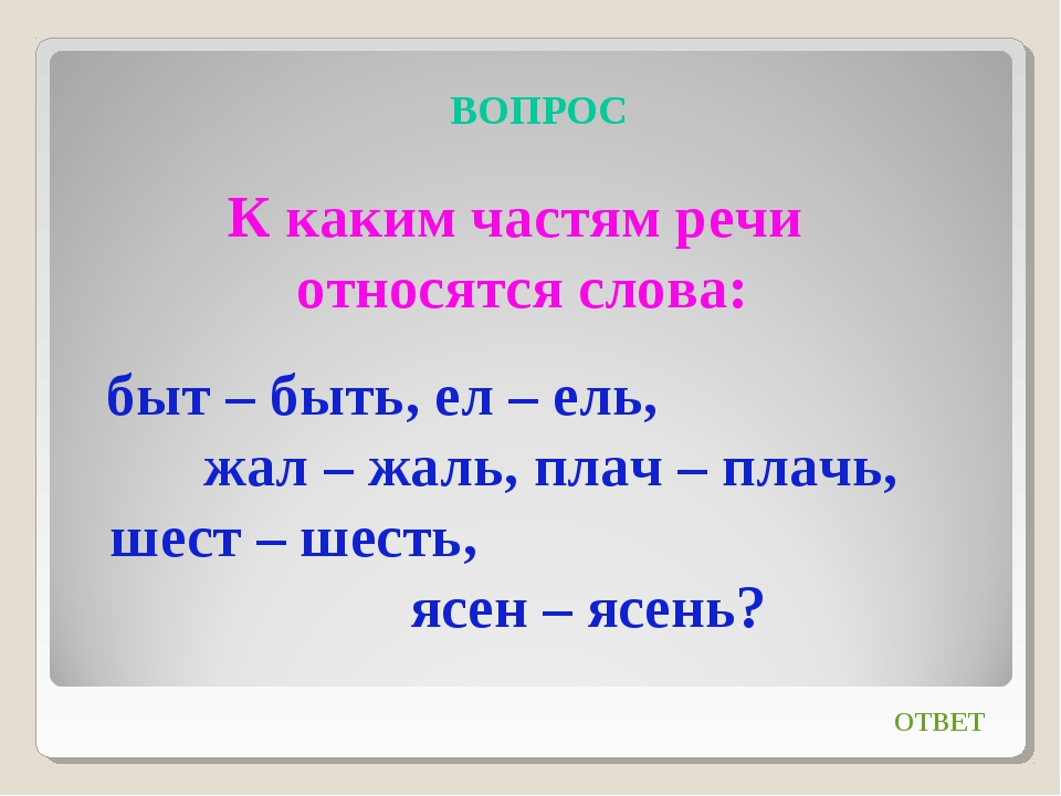 ВОПРОС К каким частям речи относятся слова: быт – быть, ел – ель, жал – жаль,...