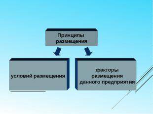 ХОЗЯЙСТВО Принципы размещения условий размещения факторы размещения данного п