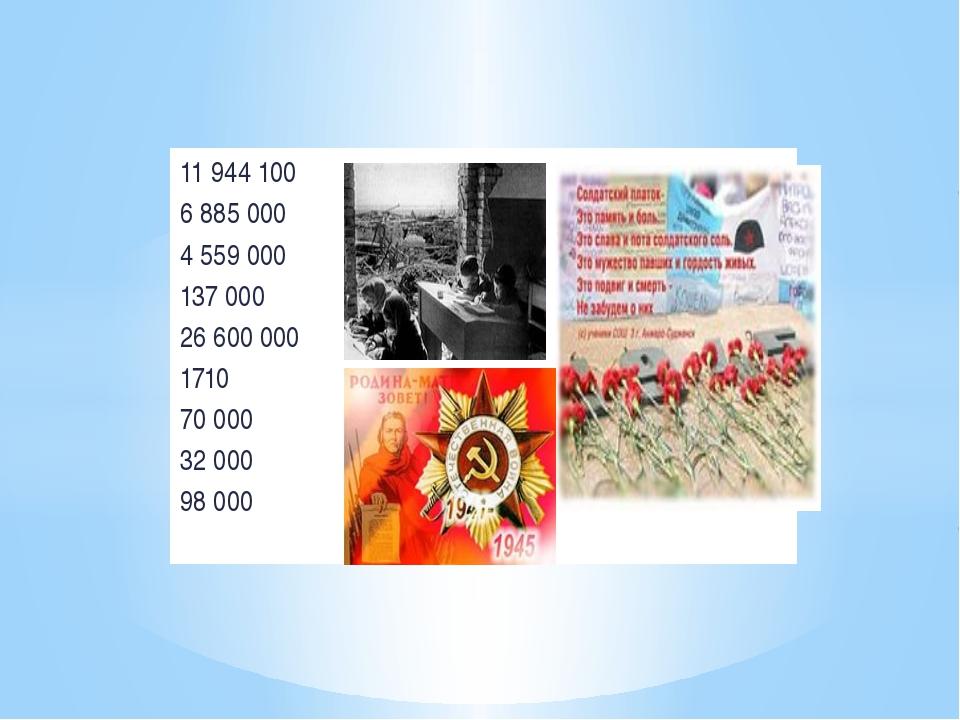 11 944 100 6 885 000 4 559 000 137 000 26 600 000 1710 70 000 32 000 98 000