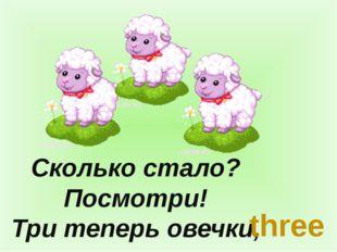Сколько стало? Посмотри! Три теперь овечки, three