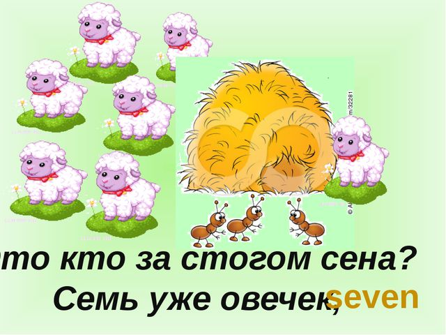 Это кто за стогом сена? Семь уже овечек, seven