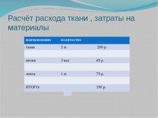 Расчёт расхода ткани , затраты на материалы наименование количество ткань 2м