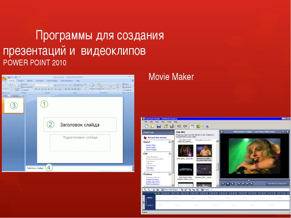 Программы для создания 						 презентаций и видеоклипов POWER POINT 2010...