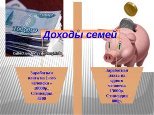 Доходы семей Заработная плата на 1-ого человека – 18000р., Стипендия 4200 За