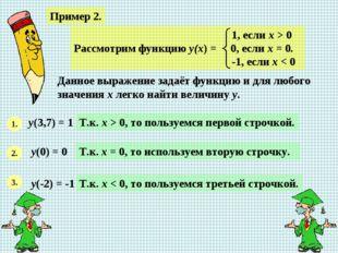 Пример 2. Данное выражение задаёт функцию и для любого значения х легко найти