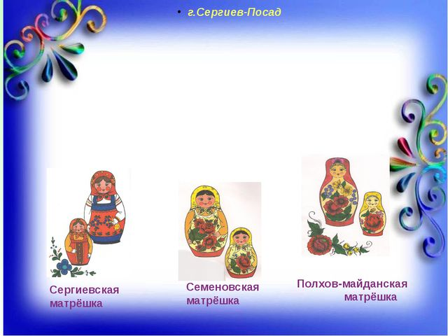 Сергиевская матрёшка Семеновская матрёшка Полхов-майданская матрёшка