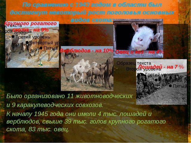 По сравнению с 1943 годом в области был достигнут некоторый рост поголовья ос...