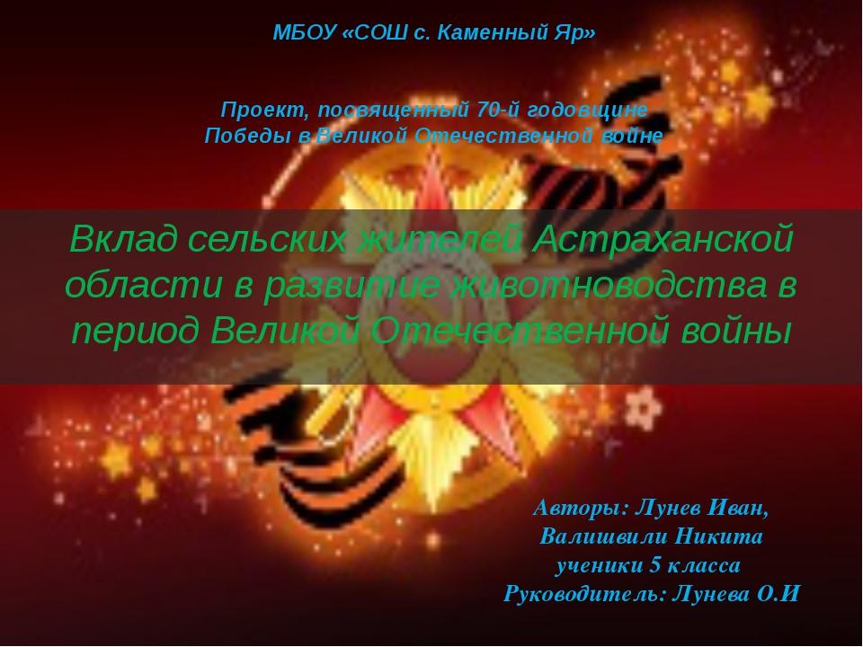 МБОУ «СОШ с. Каменный Яр»  Проект, посвященный 70-й годовщине Победы в Велик...
