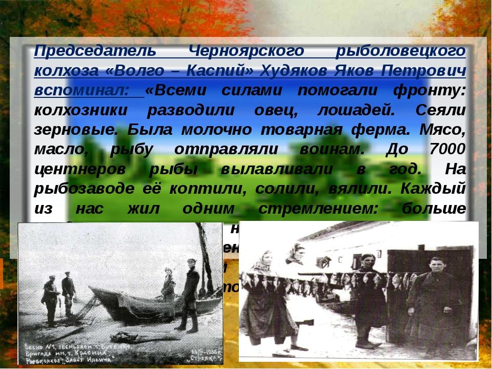 Председатель Черноярского рыболовецкого колхоза «Волго – Каспий» Худяков Яко...