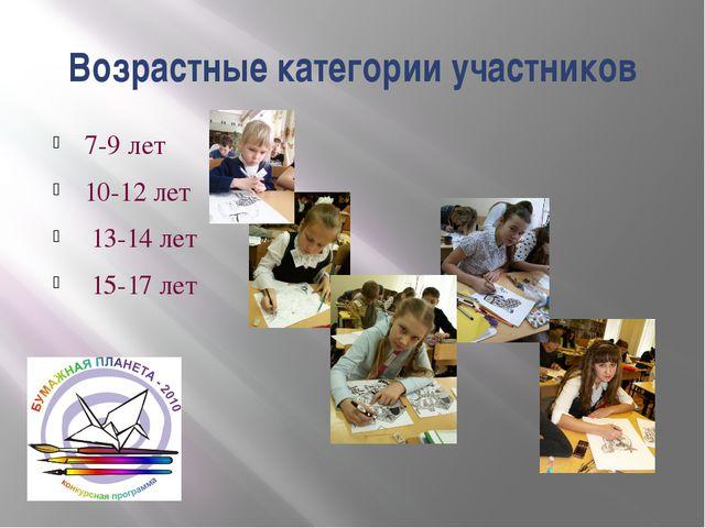 Возрастные категории участников 7-9 лет 10-12 лет 13-14 лет 15-17 лет