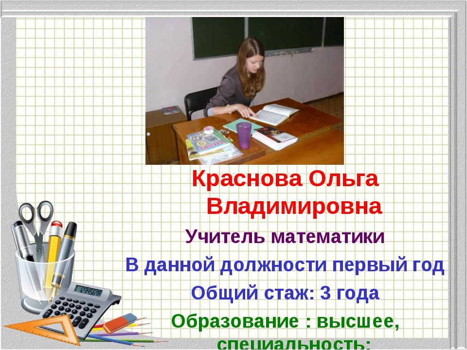 Краснова Ольга Владимировна Учитель математики В данной должности первый год...