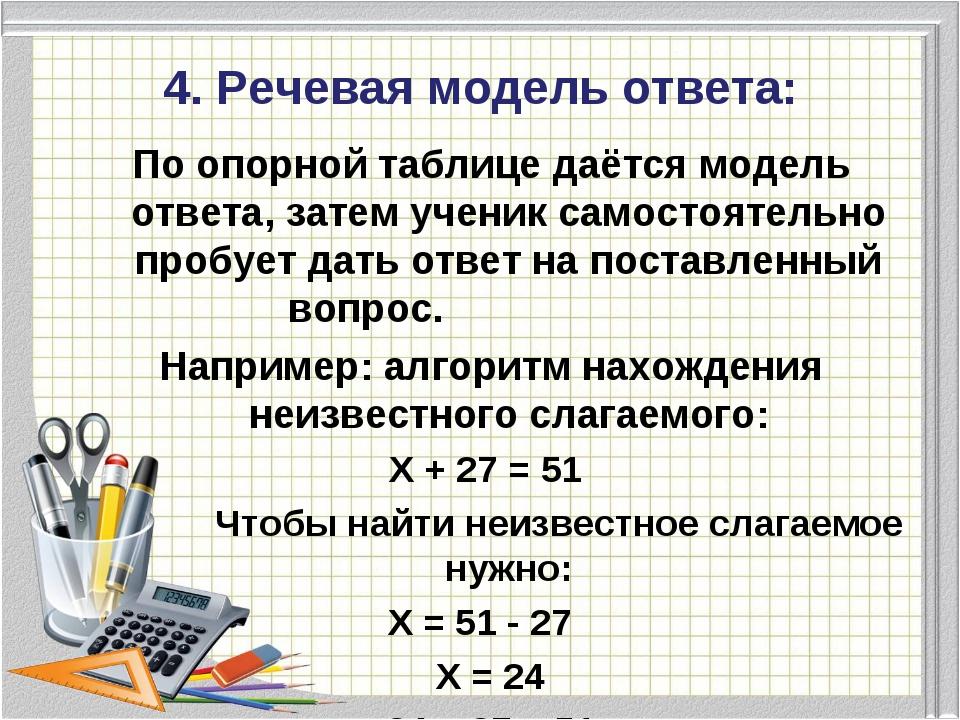 4. Речевая модель ответа: По опорной таблице даётся модель ответа, затем учен...