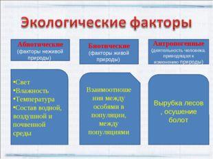 Абиотические (факторы неживой природы) Биотические (факторы живой природы) Ан