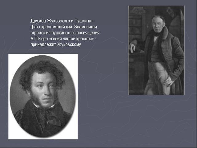 Дружба Жуковского и Пушкина – факт хрестоматийный. Знаменитая строчка из пушк...
