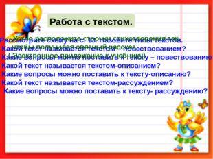Рассмотрите схему на с. 13. Назовите типы текстов. Какой текст называется тек