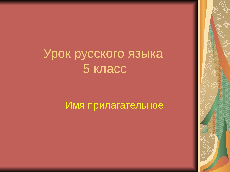 Урок русского языка 5 класс Имя прилагательное