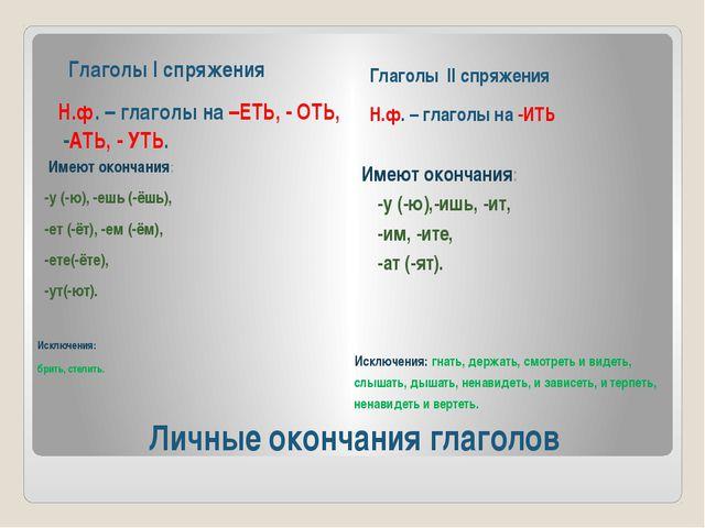 Личные окончания глаголов Глаголы I спряжения Н.ф. – глаголы на –ЕТЬ, - ОТЬ,...