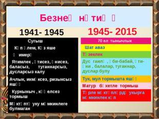 Безнең нәтиҗә 1941- 1945 1945- 2015 Сугыш Күп үлем, Күз яше Җимерү Ятимлек ,