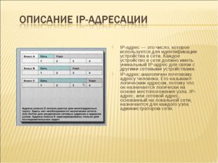IP-адрес — это число, которое используется для идентификации устройства в сет
