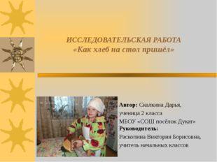ИССЛЕДОВАТЕЛЬСКАЯ РАБОТА «Как хлеб на стол пришёл» Автор: Скалкина Дарь
