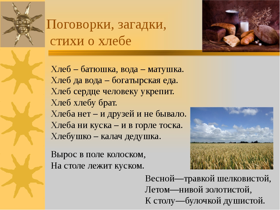 Поговорки, загадки, стихи о хлебе Хлеб – батюшка, вода – матушка. Хлеб да вод...
