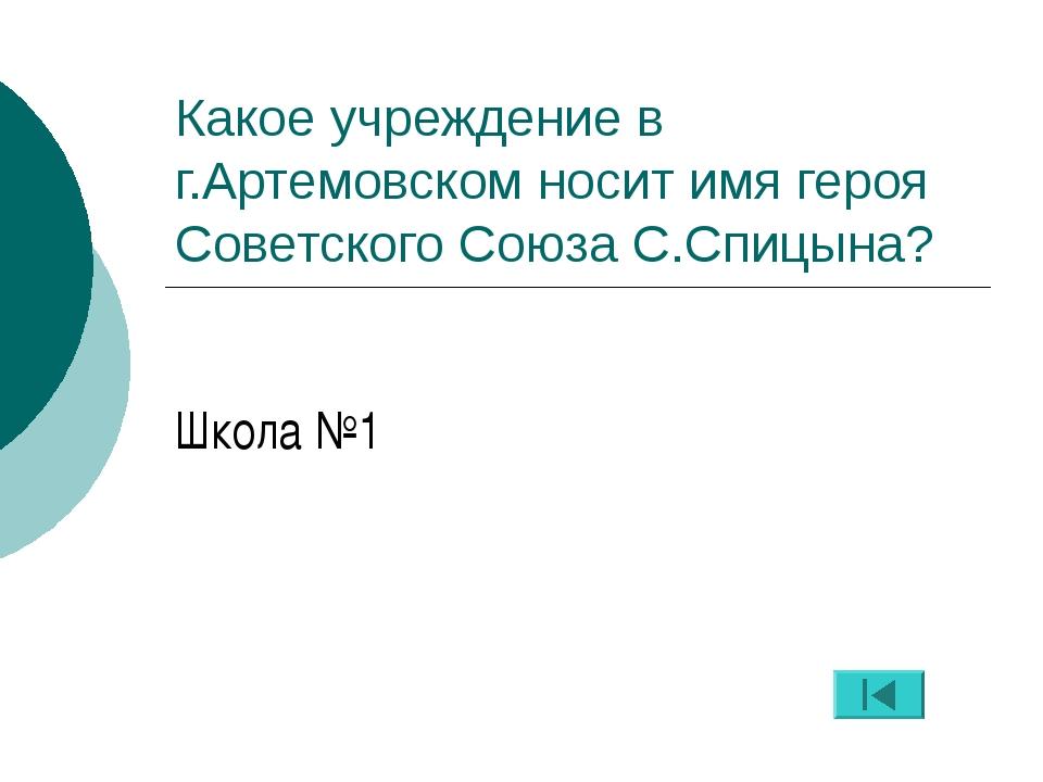 Какое учреждение в г.Артемовском носит имя героя Советского Союза С.Спицына?...