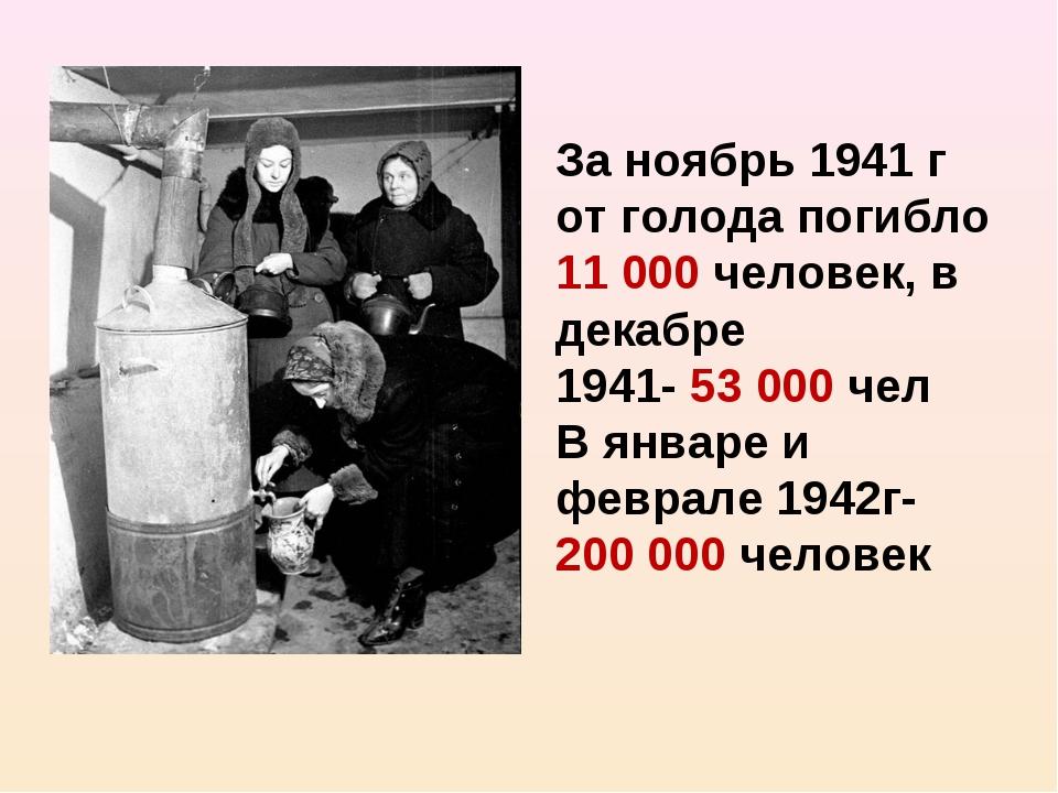 За ноябрь 1941 г от голода погибло 11 000 человек, в декабре 1941- 53 000 чел...