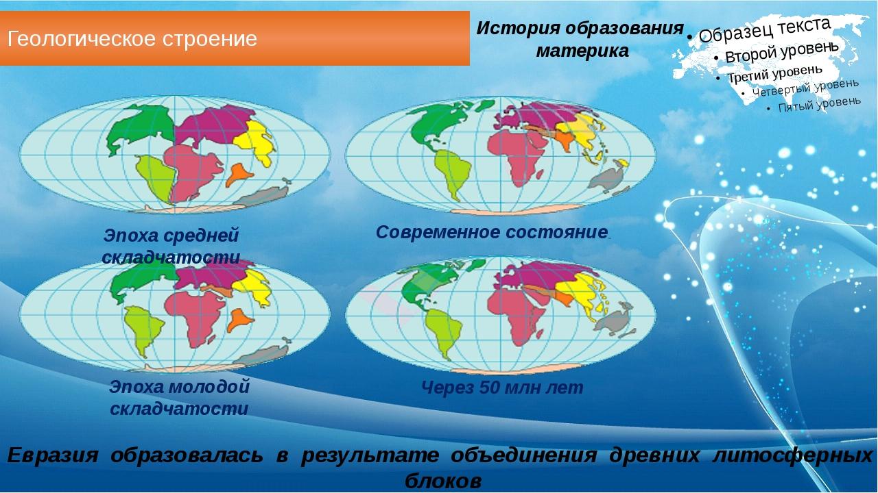 Геологическое строение Евразия образовалась в результате объединения древних...