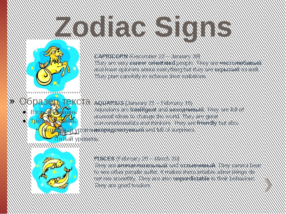 Zodiac Signs CAPRICORN (December 22 – January 20) They are very career orient...
