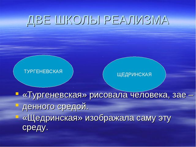 ДВЕ ШКОЛЫ РЕАЛИЗМА «Тургеневская» рисовала человека, зае – денного средой. «Щ...