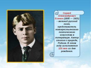 Сергей Александрович Есенин (1895 — 1925) – великий русский поэт, представит