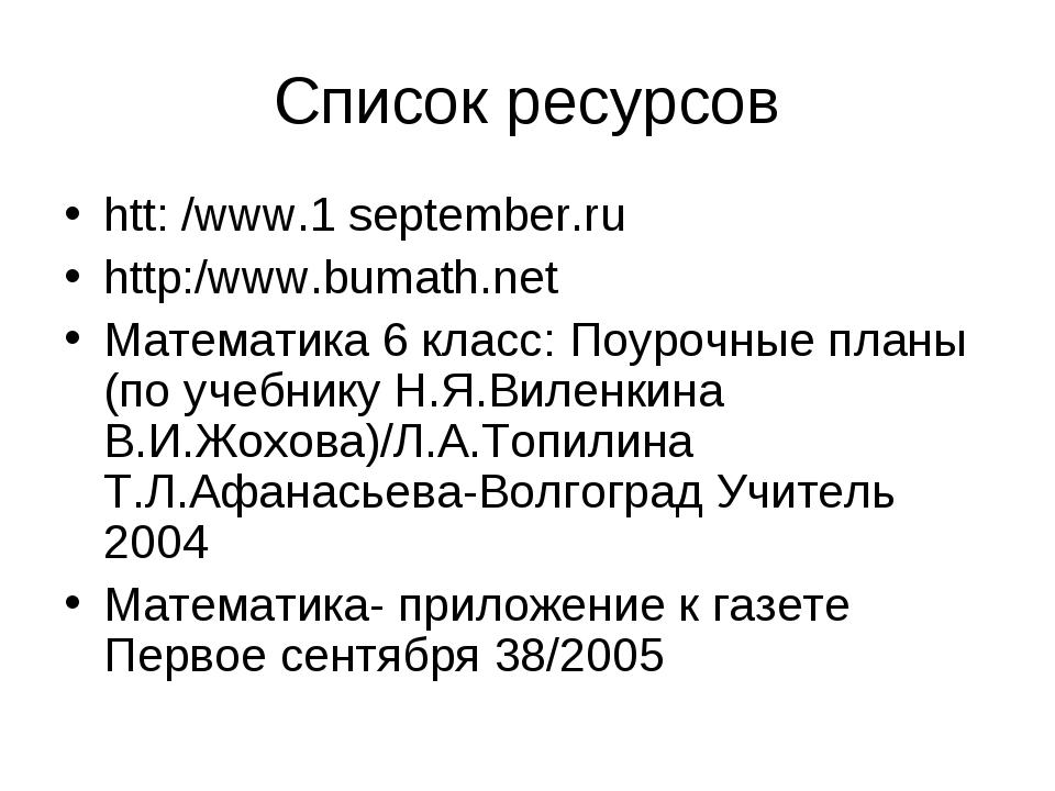 Список ресурсов htt: /www.1 september.ru http:/www.bumath.net Математика 6 кл...