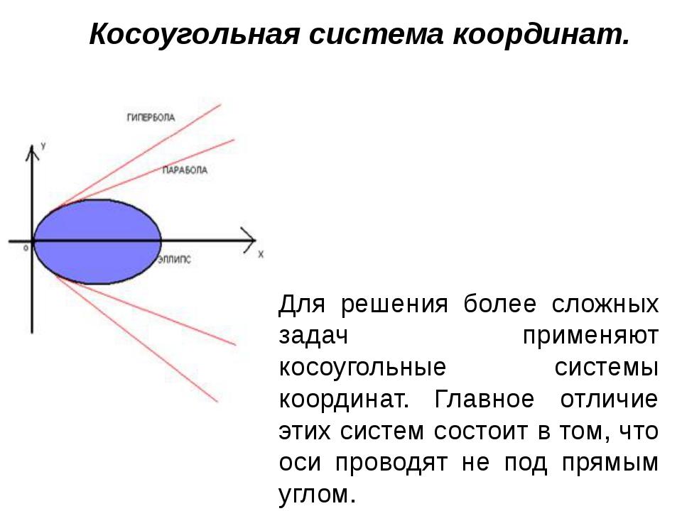Косоугольная система координат. Для решения более сложных задач применяют кос...