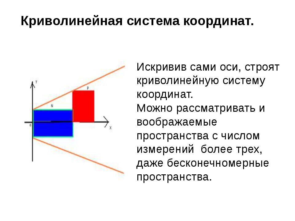 Криволинейная система координат. Искривив сами оси, строят криволинейную сист...