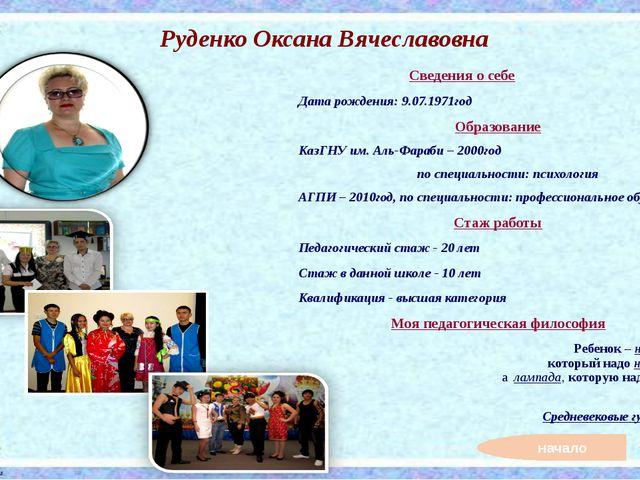 начало Соловьенко Анастасия Викторовна Сведения о себе Дата рождения: 7.03.19...