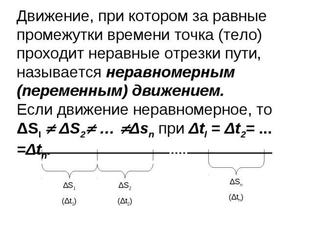 Движение, при котором за равные промежутки времени точка (тело) проходит нера...