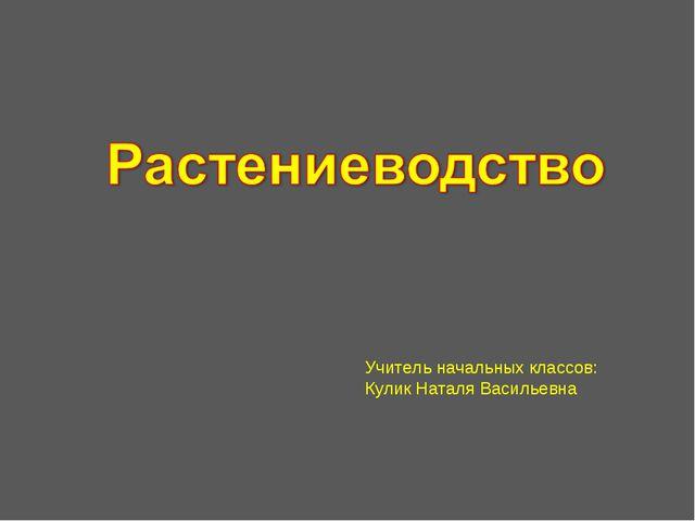 Учитель начальных классов: Кулик Наталя Васильевна